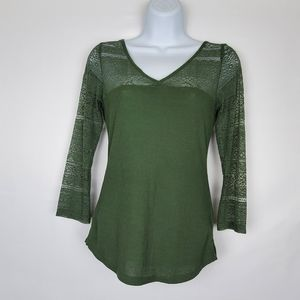 H&M Green Lace 3/4 Sleeve Top XS